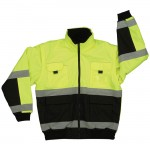 2W  350C-3 Reversible Bomber Jacket Class 3 Lime Green and Black with detachable sleeves