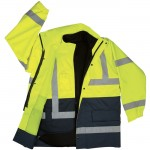 2W 360C-3 100% Waterproof 4 in 1 Parka Class 3 Lime Green and Black