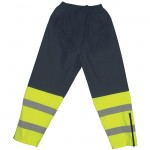 2W 737C-E Waist Rain Pants Class E Navy and Lime Green