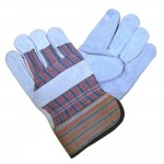 Azusa Safety S96115 split Leather palm Reinforced glove striped cotton back