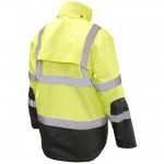 Radians SJ41-3ZGS Class 3 Three-In-One WeatherProof Parka Hi-Viz Green/Black