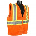 Radians SV22-2ZOM Economy Class 2 Safety Vest with Two-Tone Trim Mesh Hi-Viz Orange