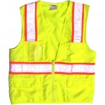 Valcrest 28264 Class 2 Surveyor Two-tone Safety Vest Lime Green Woven polyester
